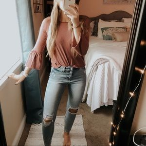 Berry Pink Cropped Bell Sleeve Shirt